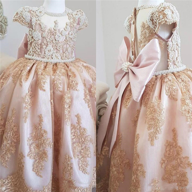 Luxurious Pearls Lace   Flower     Girl     Dresses   Short Sleeves Little   Girl   Wedding Guest   Dresses   Pageant Birthday Party Gowns