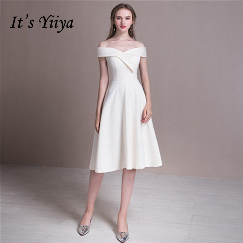 f27ab9f273e It s Yiiya 2018 Champahne White Boat Neck Elegant Slim Evening Dresses  Famous Designer Party Formal Dress Prom Dresses LX380