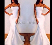 Best Selling Strapless Mermaid Simple Style White Formal Evening Dresses Cheap