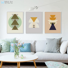 Triptych Modern Abstract Minimalist Maya Inka Geometric Shape Print Poster Nordic Wall Art Pictures Home Decor Canvas Paintings
