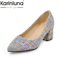 Karinluna 2018 Large Size 32 46 Spring Autumn Brand Natural Slip On Square High Heels Pumps