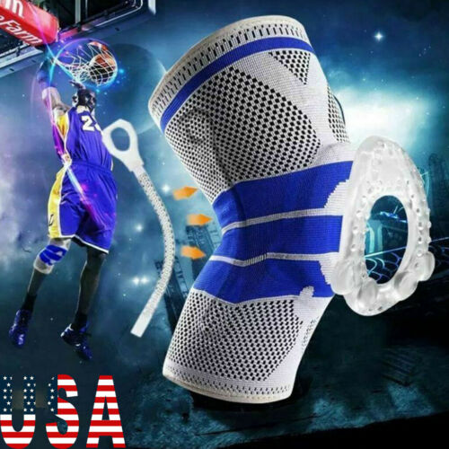 Unisex Silicone Spring Knee Brace Sport Support Strong Meniscus Protection Compression