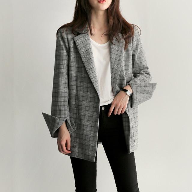 2018 New Fashion Elegant Gray Plaid Office Lady Blazer 1