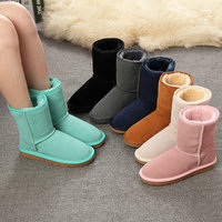 Free Shipping Not Australia Brand Women Snow Boots Cowhide Wool Winter Warm Short Boots Botas Feminina
