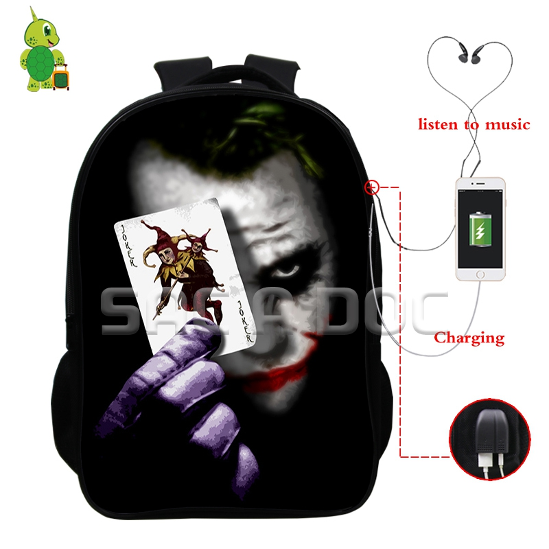 The Dark Knight Joker Backpack For Teenagers Boys Girls Multifunction USB Charge Headphone Jack School Bags Laptopl Travel Bags