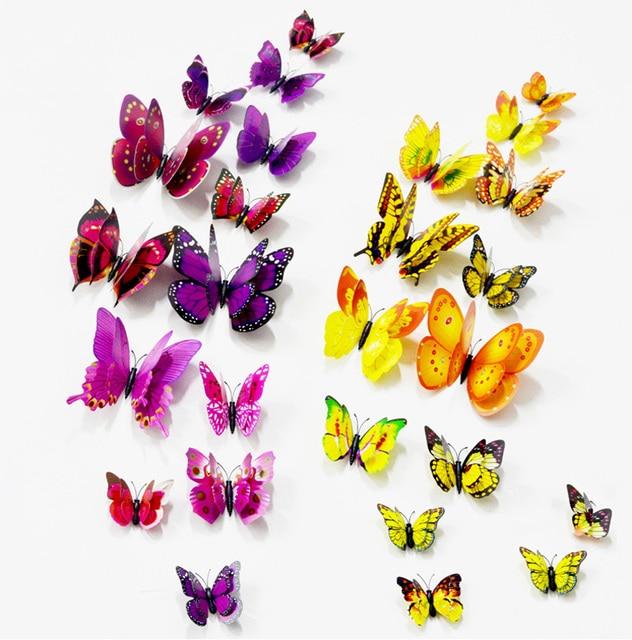 10pcs  Artificial Butterfly Luminous Fridge Magnet for Home Christmas Wedding Decoration 5