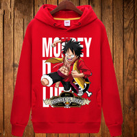 One Piece Anime Couple hoodies Autumn Winter men fleece thick warm hooded pullover Fashion Solid color Sweatshirt Brand Tops