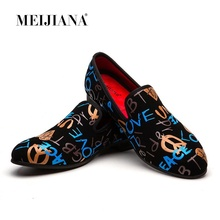 MEIJIANA New Fashion Summer Loafers Luxury Printed Alphabetic Suede Mens Dress Shoes Slip On Casual Shoes Men's Prom Shoes suede slip on mens shoes