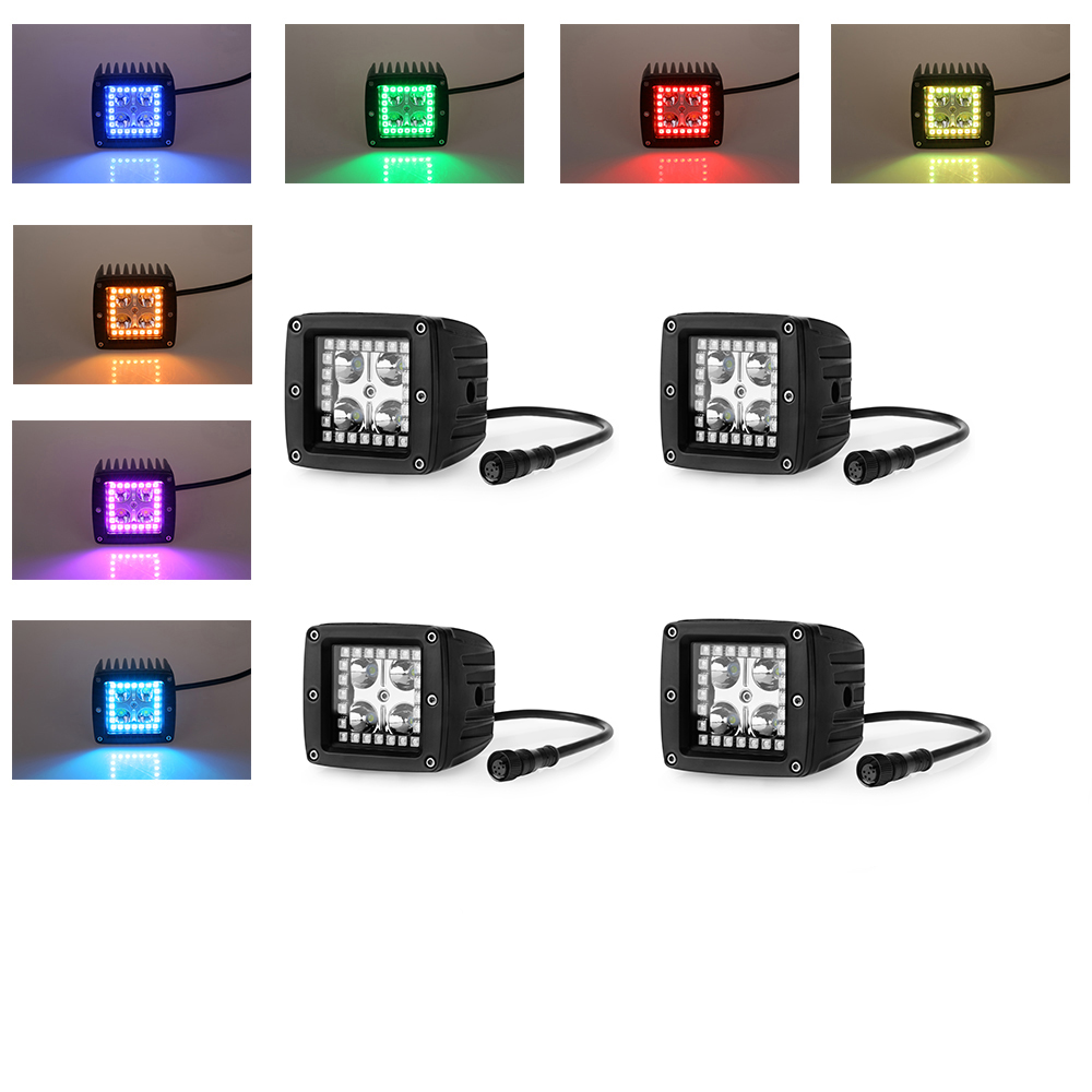 3 color changing led work lights offroad Led square pods with halo waterproof controller Free wire harness Pack 4