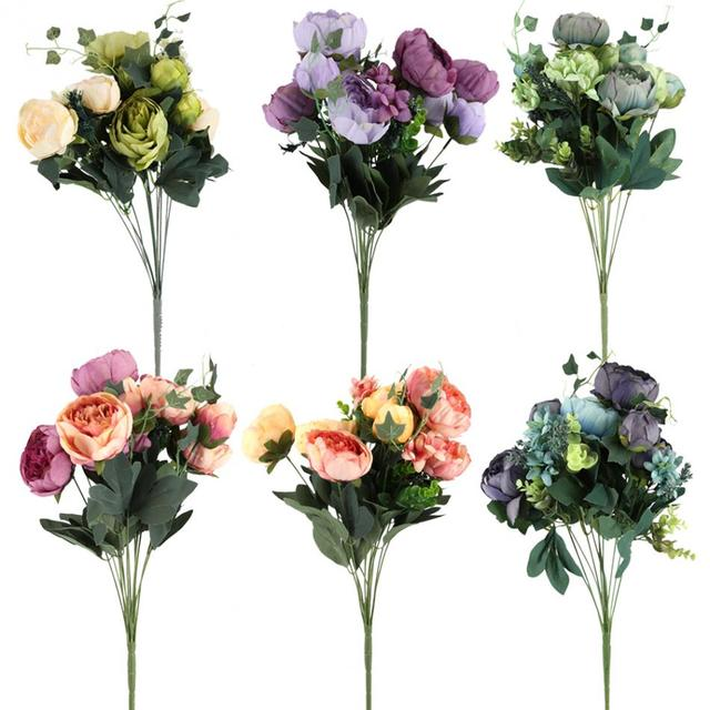 bedroom garden dried flowers decoration artificial peony silk