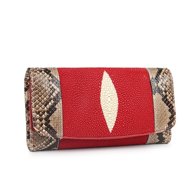 4a8ade18463 100% Genuine Stingray Skin Match Python Skin Women s Long Clutch Wallet Purse  Ladies Exotic Snakeskin Leather Large Card Wallet