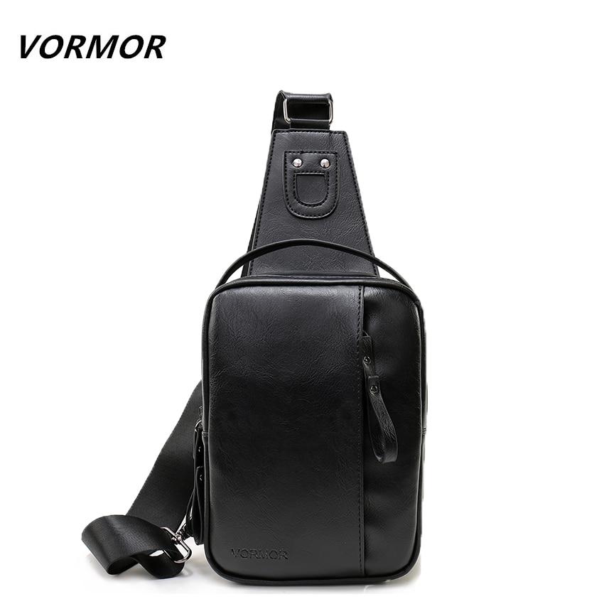 VORMOR Fashion Brand Men Chest Pack Handbag Leather Messenger Bag Single Shoulde