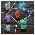 7 Mudança de Cor Gradiente Night Light Gato 3D Quarto Levou ilusão de mesa Atmosfera Lâmpada de Iluminação Partido Home Decoração do Ano Novo presentes
