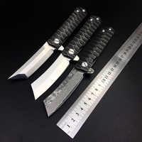 Kwaiken D2 Tanto cuchillo plegable táctico navaja Damasco rodamiento caza supervivencia cuchillos de bolsillo de combate al aire libre Camping EDC herramienta