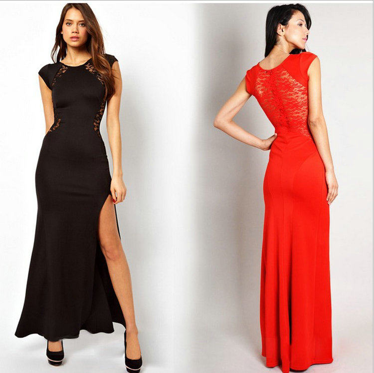 8af012593d US $35.0 |Long lace back hollow out sleeveless evening dresses slim women  casual dress red / black one piece party gown M L XLCheap price-in Dresses  ...