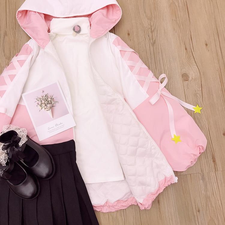 De Rose Outwear Manteau Starlight Longues Lolita Femmes Hiver Manches Patchwork Parka Automne Fille Capuchon Mignon Veste À Y1q5f