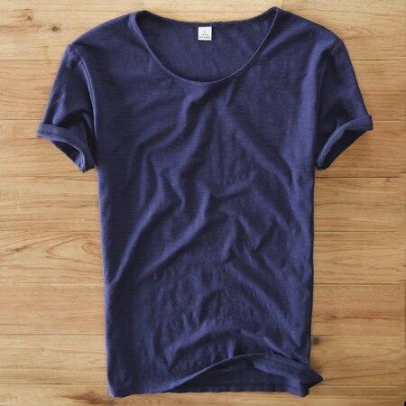 Summer Linen T Shirt Men...