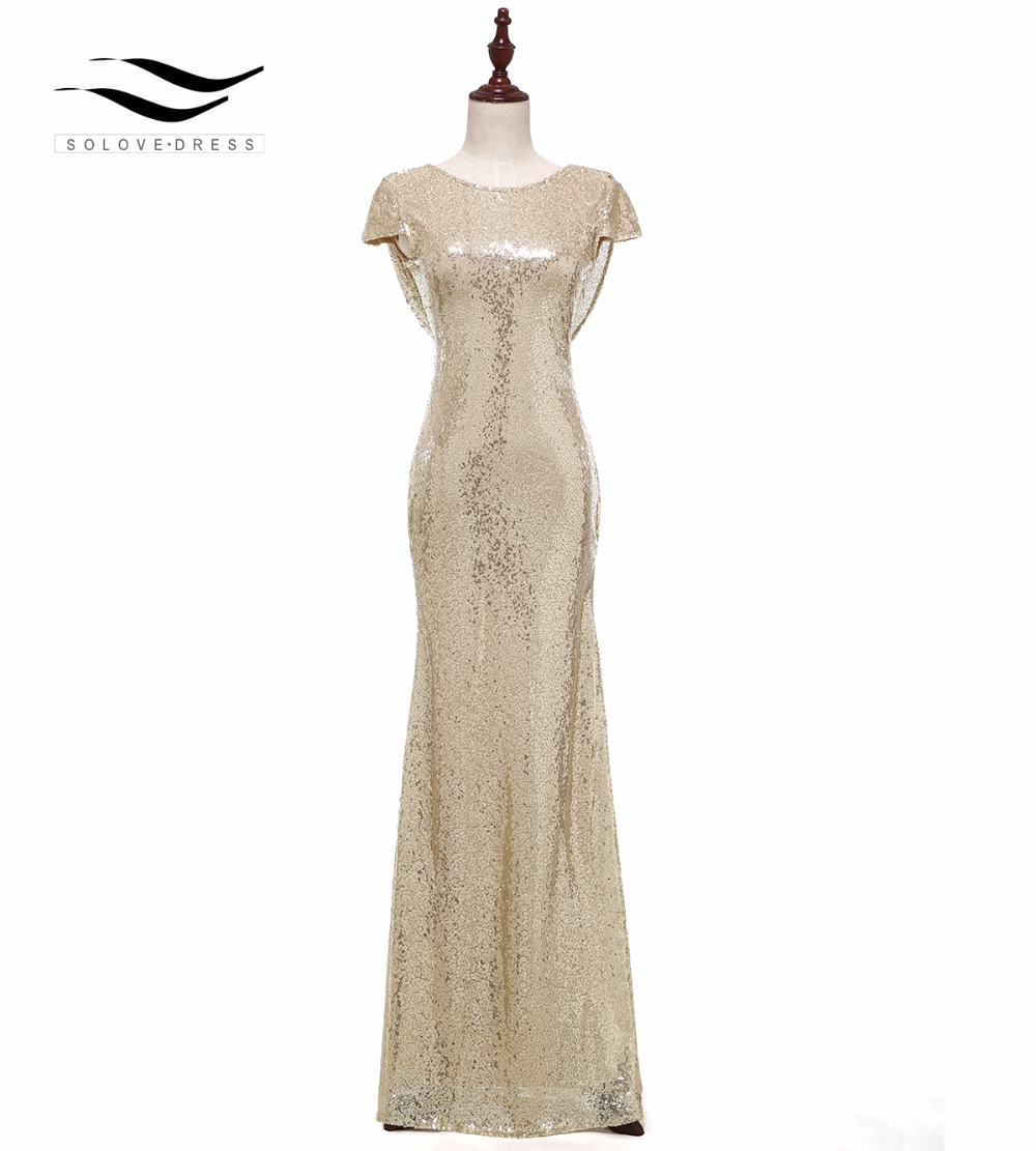Solovedress Cap Sleeves Champagne Mermaid Sequin Evening Dress 2017 Real Formal Evening Gown vestido de festa longo SLD-E006(China)