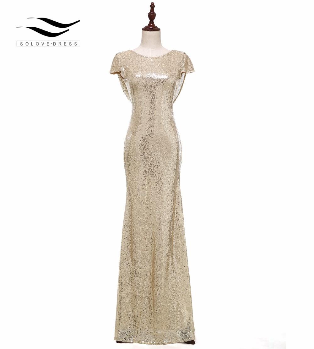 Solovedress Cap Sleeves Champagne Mermaid Sequin Evening Dress 2017 Real Formal Evening Gown vestido de festa