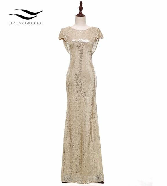 Solovedress שווי שרוולים שמפניה בת ים נצנצים שמלת ערב 2017 נדל פורמליות ערב שמלת vestido דה festa לונגו SLD E006