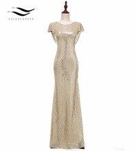 Solovedress Kappe Ärmeln Champagner Meerjungfrau Pailletten Abendkleid 2017 Echt Formal Abendkleid vestido de festa longo SLD E006
