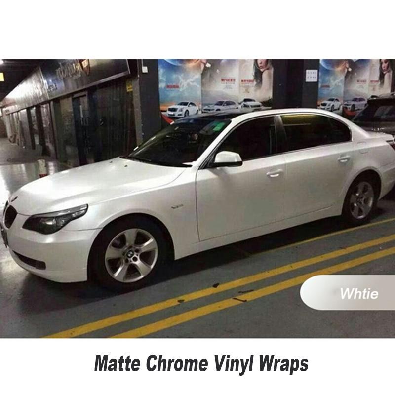 Chrome Matte white Car Wrap Satin chrome white vinyl wrap With Air Release Vehicle Wrap Sticker size 1.52x20m/Roll