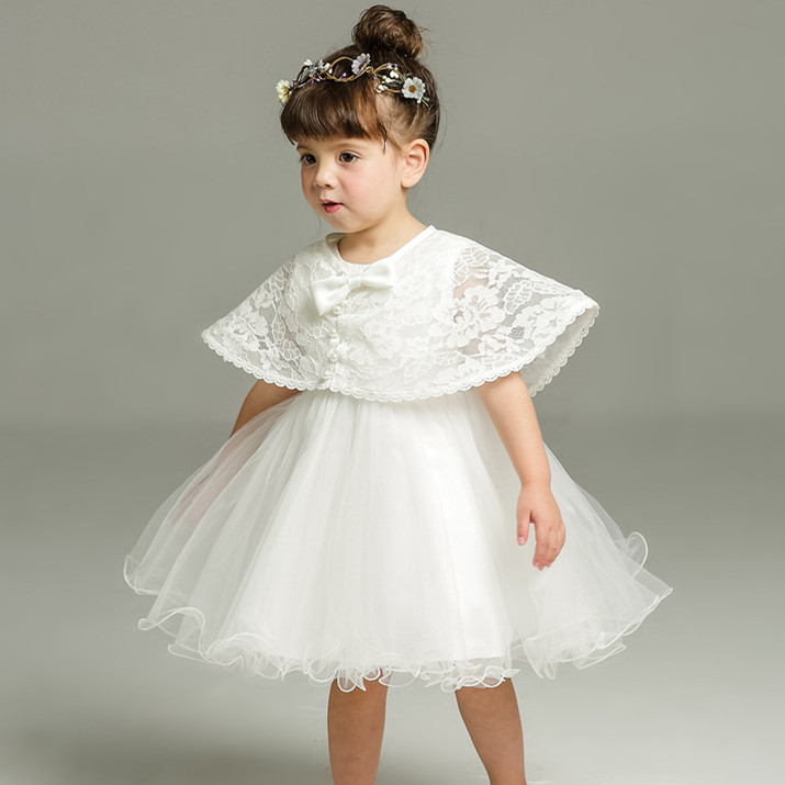 2pcs Set Of One Year Old Baby Girl Baptism Dress Princess Wedding Vestidos Tutu 2017 Baby Girl Baptism Clothes ABF164701