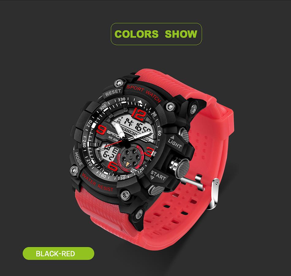 Sanda 759 Men Military Sport Watch Black Red
