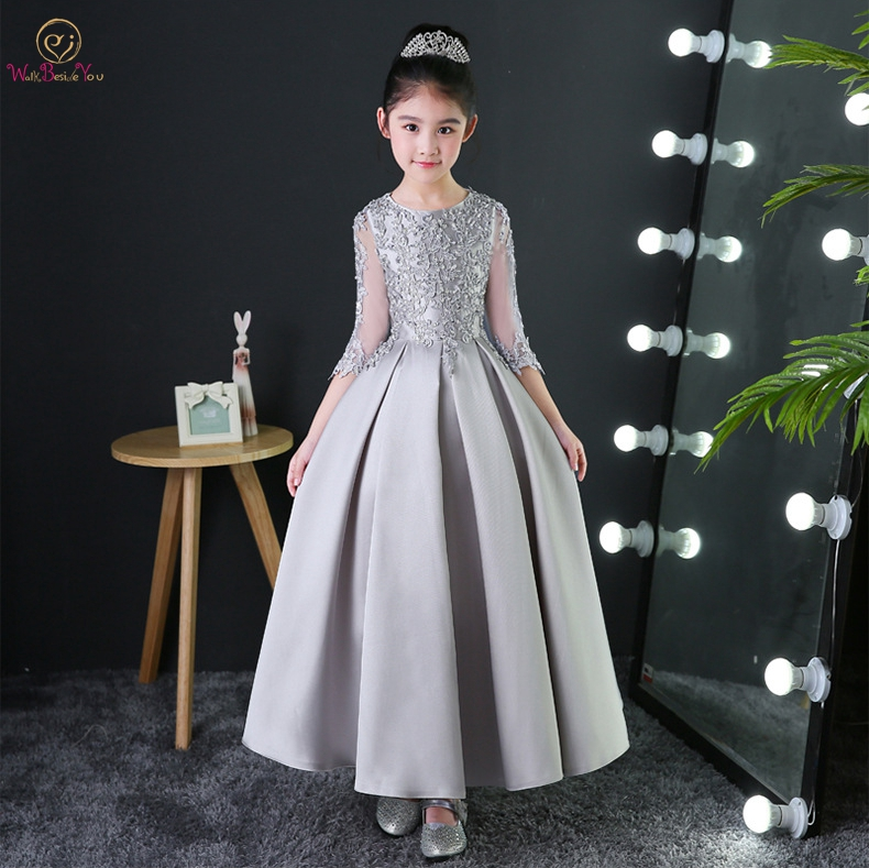 Walk Beside You Gray Flower Girl Dresses Long Floor Length Satin A-line Lace Applique Beading Three Quarter Sleeves Evening Gown