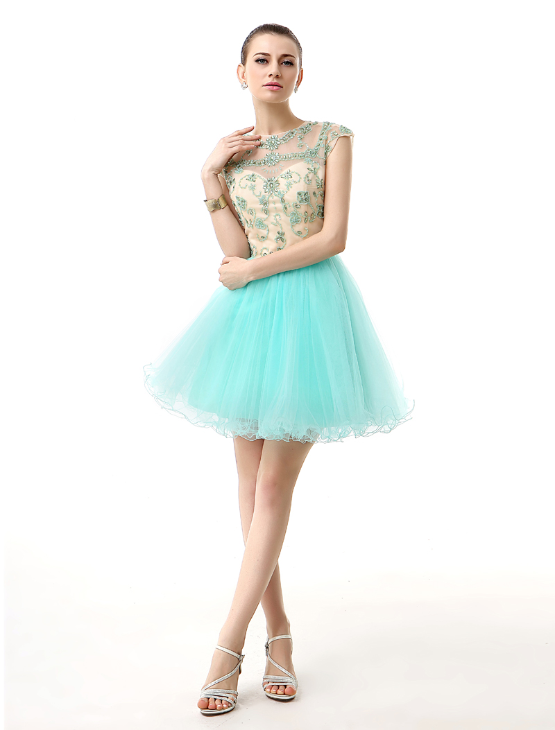 Cocktail     Dresses   Green Tulle Sequins Beaded Girls Short Party Prom   Dresses   Backless Sexy Homecoming   Dresses   Real Photos