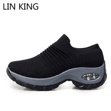 Купить с кэшбэком LIN KING Plus Size 43 Women Casual Shoes Slip On Breathable Mesh Height Increase Wedge Loafers Lightweight Ladies Tenis Sneakers