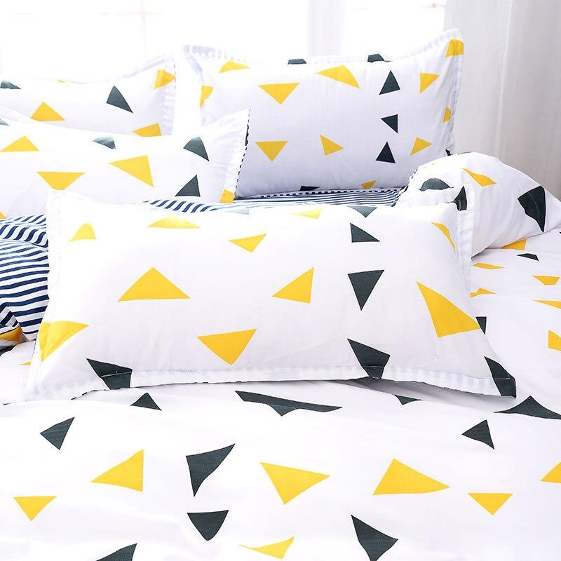 Solstice Home Textile 3/4Pcs King Full Bedding Set Boy Kid Teen Girl Bed Linen Triangle Stripe Duvet Cover Flat Sheet Pillowcase
