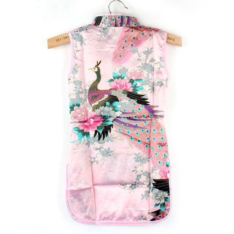 Chinese Qipao Kids Baby Girl Floral Peacock Cheongsam Dress for 2-8 Years baby girl kids peacock feather dress