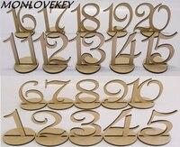 1 ~ 20 طاولة خشبية أرقام مع حامل قاعدة لل زفاف المنزل الديكور زفاف الدعائم ustic ديكور محور الزفاف خطاباتخطابهزوجات