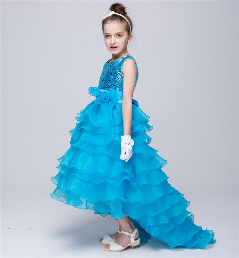2018baby girls elegant train sequin dresses children Tulle blue purple red kids long tail evening gown party wedding christmas