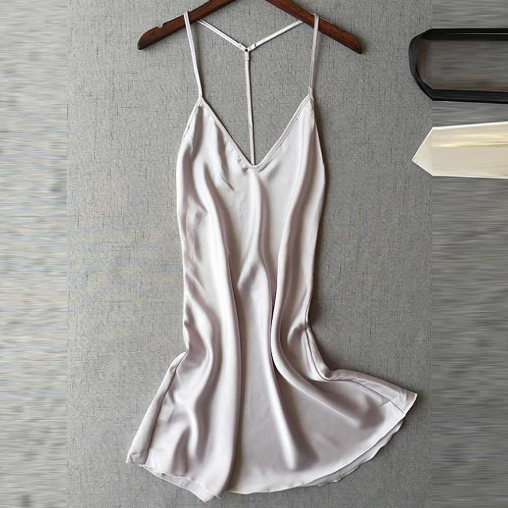 Damen Sexy Silk Satin Nacht Kleid Ärmellose Nachthemden V-ausschnitt Nachthemd Sommer Nachthemd Spitze Nacht Kleid Nachtwäsche Für Frauen