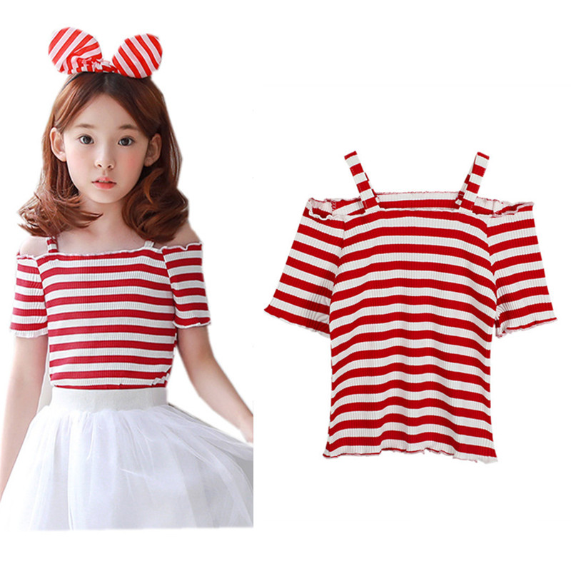 3 to 12 years kids & teenager big girls 2018 summer red white striped off the shoulder cotton casual t shirts clothes child tops off the shoulder striped crop top