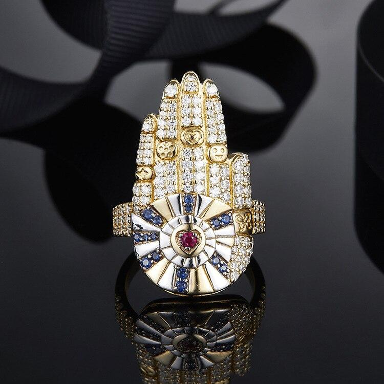 # [MeiBaPJ] bijoux de luxe en argent Sterling 925 couleur or jaune Hamsa porte-bonheur anneaux de paume Micro zircon cubique pierres femmes