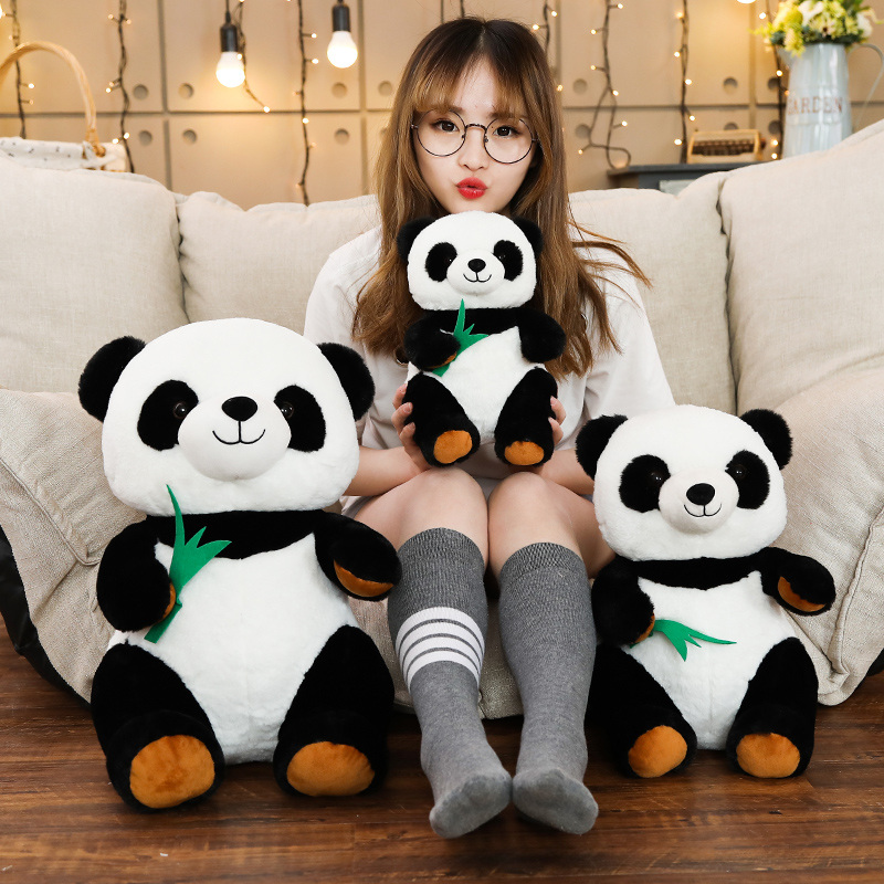 Hot New 1pc 30/40/50cm Cartoon Panda With Bamboo Stuffed Soft Animal Doll For Kids Baby Girls Lovely Gift Toy