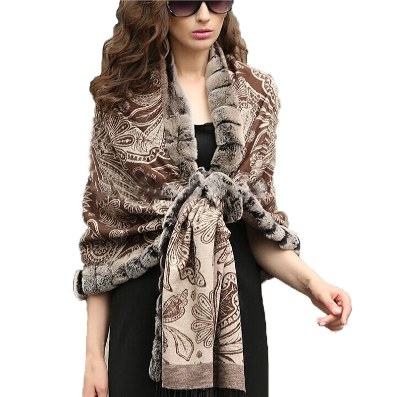 FASHION Elegance Women's  Shawl 100% pure silk 100% Real Rex Rabbit  Fur Plaid Cape/ cloak/ Poncho /Wraps/Brown