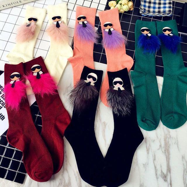 Europa tubo meias maré marca fox pilhas meias meias pilha de maré de moda feminina