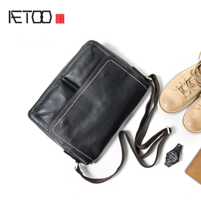 AETOO Original retro men's first layer of leather Messenger bag men's leather shoulder bag leather cross section casual clamshe aetoo men s casual handbag cross section leather hand first layer of leather diagonal cross bag retro shoulder bag computer bag