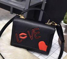 Letter red lips flip shoulder oblique cross handbags, women's fashion spring and summer new mini bag,lady belt quality bag