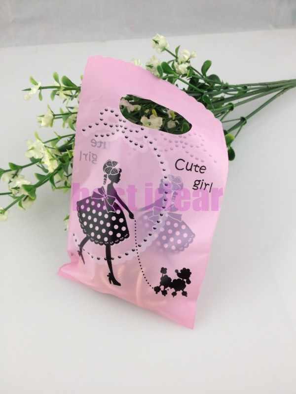 الوردي فتاة مع الكلب نمط 15x9 سنتيمتر تغليف المجوهرات هدية الحقائب الناقل لل بوتيك ، البلاستيك هدية أكياس 100 قطع الشحن مجانا