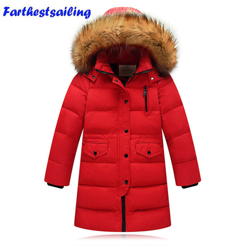 2017 Winter Duck Down Jacket For Girls Boys Kids Winter Outwear Fashion Warm Long Coat Hooded Down & Parkas Children Clothing immdos winter new arrival down jacket for boy children hooded outwear kids thick coat baby long sleeve pocket fashion clothing page 3