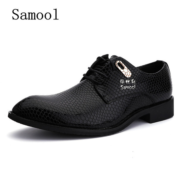 SAMOOL Mode Formelle Mens Robe Chaussures Classique Chaussures Oxford Hommes  En Cuir Véritable Italien Business Party
