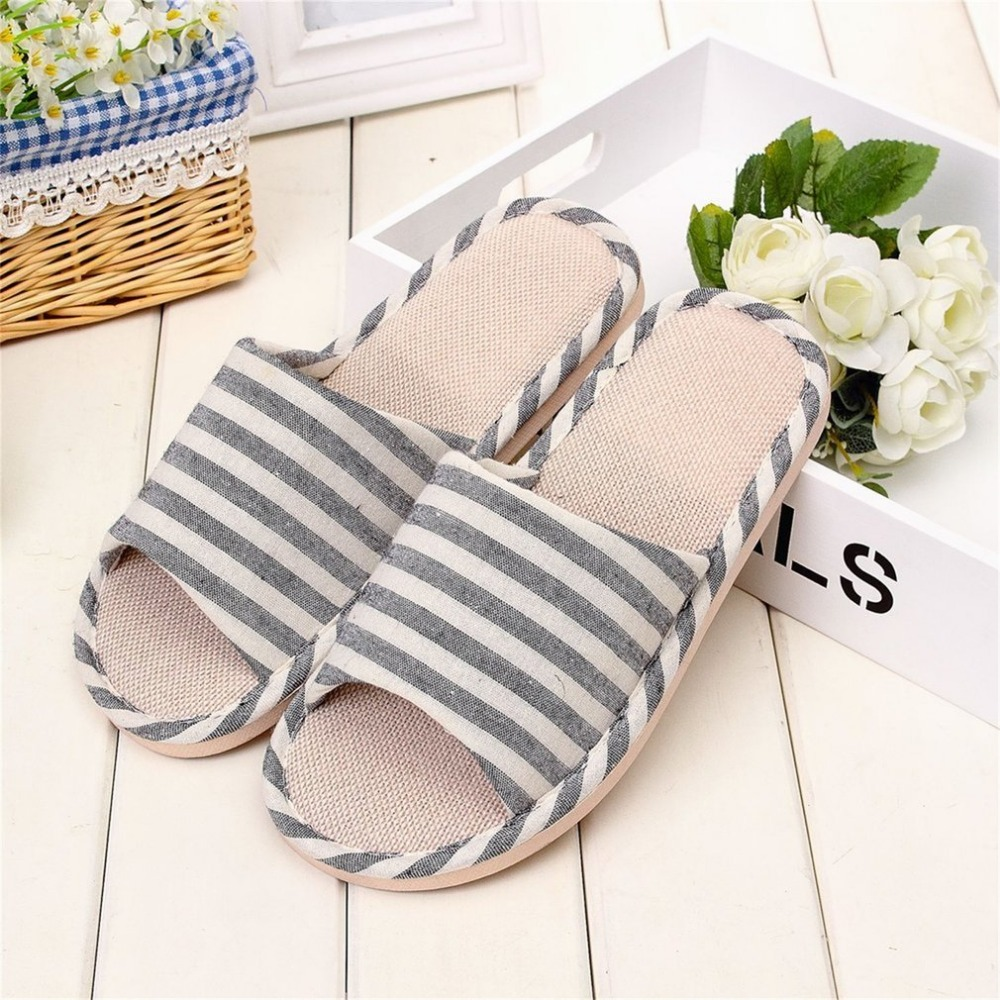 Spring Style Home Indoor Slippers Linen Striped Skid Slippers Women&Men Home Lovers Shoes Winter/Spring/Summer Slippersnew 2017 new home slippers spring summer indoor shoes refreshing linen flax flats home slippers