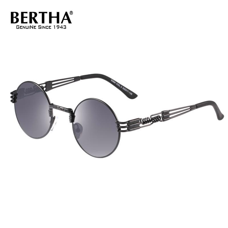 Bertha Round Sunglasses Steampunk Metal Spring Frame Mirror Lens 6384