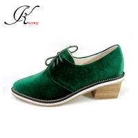 5 CM Thick Heels Shoes For Women Genuine Leather Green Color Pumps Plus Size 32 43