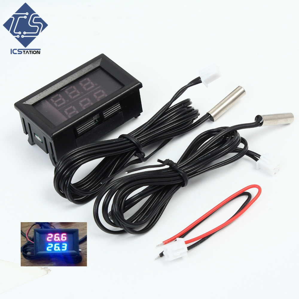 0.56'' Red+Blue Dual Display Digital LED Thermometer Temperature Meter Waterproof Metal Probe Sensor Module -20~100 Celsius dc12v 24v digital meter 20 100 degrees celsius thermometer dual display temperature meter for car water air indoor outdoor etc